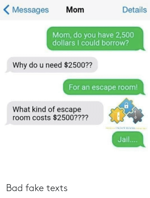 Bad, Fake, and Jail: < Messages  Details  Mom  Mom, do you have 2,500  dollars I could borrow?  Why do u need $2500??  For an escape room!  What kind of escape  room costs $2500????  Jail.. Bad fake texts