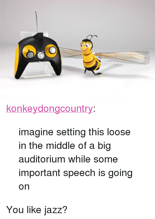 "Tumblr, Blog, and Http: <p><a class=""tumblr_blog"" href=""http://konkeydongcountry.tumblr.com/post/96820873529"">konkeydongcountry</a>:</p><blockquote> <p>imagine setting this loose in the middle of a big auditorium while some important speech is going on</p> </blockquote>  <p>You like jazz?</p>"