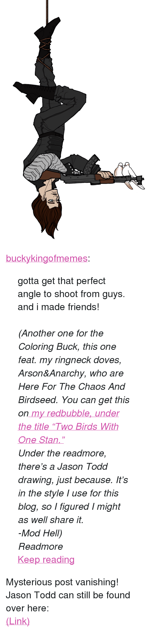 """Vanishing: <p><a href=""""http://buckykingofmemes.tumblr.com/post/164429939636/gotta-get-that-perfect-angle-to-shoot-from-guys"""" class=""""tumblr_blog"""">buckykingofmemes</a>:</p> <blockquote> <p>gotta get that perfect angle to shoot from guys. and i made friends!</p> <p><br/></p> <p><i>(Another one for the Coloring Buck, this one feat. my ringneck doves, Arson&amp;Anarchy, who are Here For The Chaos And Birdseed. You can get this on<a href=""""https://www.redbubble.com/people/buckykingofmeme?asc=u""""> my redbubble, under the title""""Two Birds With One Stan.""""</a></i></p> <p><i>Under the readmore, there's a Jason Todd drawing, just because. It's in the style I use for this blog, so I figured I might as well share it.</i></p> <p><i>-Mod Hell)</i></p> <p><i>Readmore</i></p> <p><a href=""""http://buckykingofmemes.tumblr.com/post/164429939636/gotta-get-that-perfect-angle-to-shoot-from-guys"""" class=""""tmblr-truncated-link read_more"""">Keep reading</a></p> </blockquote> <p>Mysterious post vanishing! Jason Todd can still be found over here:</p><p><a href=""""http://hellenhighwater.tumblr.com/post/164429454415/jason-todd-i-recently-ish-followed"""">(Link)</a></p>"""