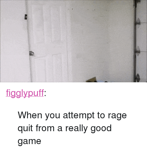 "Rage quit: <p><a href=""http://figglypuff.tumblr.com/post/137110962159/when-you-attempt-to-rage-quit-from-a-really-good"" class=""tumblr_blog"">figglypuff</a>:</p>  <blockquote><p>When you attempt to rage quit from a really good game  <br/></p></blockquote>"