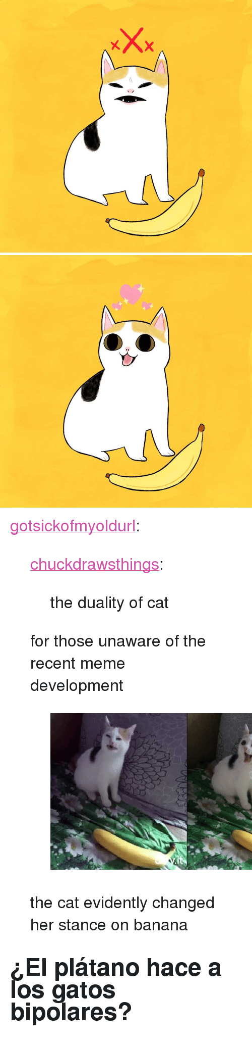 "los gatos: <p><a href=""http://gotsickofmyoldurl.tumblr.com/post/170800701101/chuckdrawsthings-the-duality-of-cat-for-those"" class=""tumblr_blog"">gotsickofmyoldurl</a>:</p><blockquote> <p><a href=""http://chuckdrawsthings.tumblr.com/post/170693393843/the-duality-of-cat"" class=""tumblr_blog"">chuckdrawsthings</a>:</p> <blockquote><p>the duality of cat</p></blockquote> <p>for those unaware of the recent meme development</p> <figure class=""tmblr-full"" data-orig-height=""405"" data-orig-width=""706""><img src=""https://78.media.tumblr.com/c00cff490bb25f6a54b67ddab6f53dd2/tumblr_inline_p41q1gu4rm1qi1nux_540.png"" data-orig-height=""405"" data-orig-width=""706""/></figure><p>the cat evidently changed her stance on banana</p> </blockquote> <h2>¿El plátano hace a los gatos bipolares?</h2>"