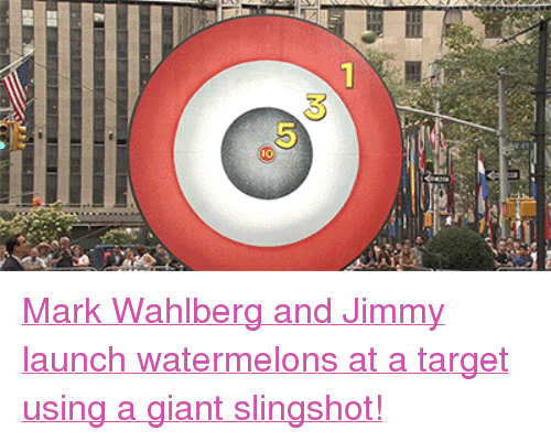 """slingshot: <p><a href=""""https://www.youtube.com/watch?v=G5NSmpbTYsQ&amp;list=UU8-Th83bH_thdKZDJCrn88g"""" target=""""_blank"""">Mark Wahlberg and Jimmy launch watermelons at a target using a giant slingshot!</a><br/></p>"""