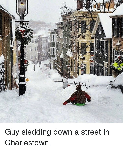 Down, Street, and Guy: <p>Guy sledding down a street in Charlestown.</p>