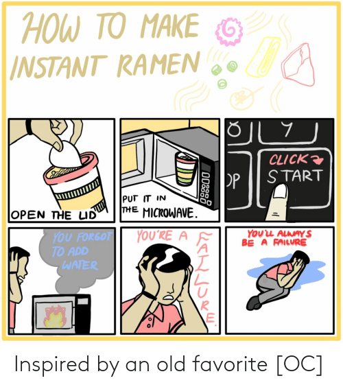 Forgot: ΤΟ ΑΚΕ  TO MAKE  HOW TO  G  INSTANT RAMEN  CLICK  START  PP  PUT IT IN  THE MICROWAVE.  OPEN THE LID  YOUL ALWAY S  BE A FAILURE  YOU'RE A  YOU FORGOT  TO ADD  WATER  ODSS8 Inspired by an old favorite [OC]