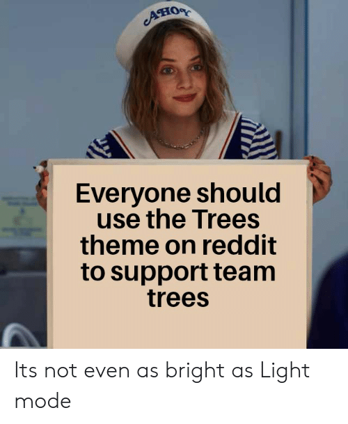 Reddit, Trees, and Dank Memes: Ано  Everyone should  use the Trees  theme on reddit  to support team  trees Its not even as bright as Light mode