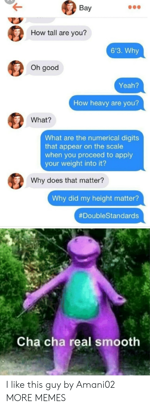 Dank, Memes, and Smooth: Вay  How tall are you?  6'3. Why  Oh good  Yeah?  How heavy are you?  What?  What are the numerical digits  that appear on the scale  when you proceed to apply  your weight into it?  Why does that matter?  Why did my height matter?  #DoubleStandards  Cha cha real smooth I like this guy by Amani02 MORE MEMES