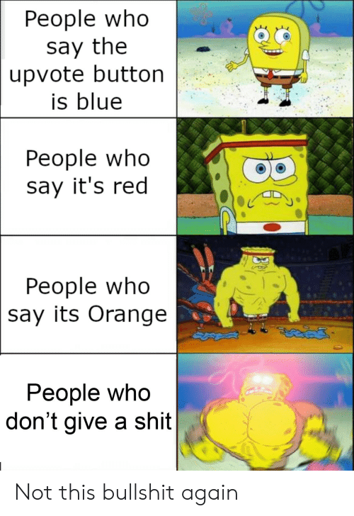 Not This: Реople who  say the  upvote button  is blue  People who  say it's red  People who  say its Orange  People who  don't give a shit Not this bullshit again