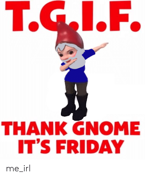 Friday, It's Friday, and Irl: Т.G.1.F.  THANK GNOME  IT'S FRIDAY me_irl