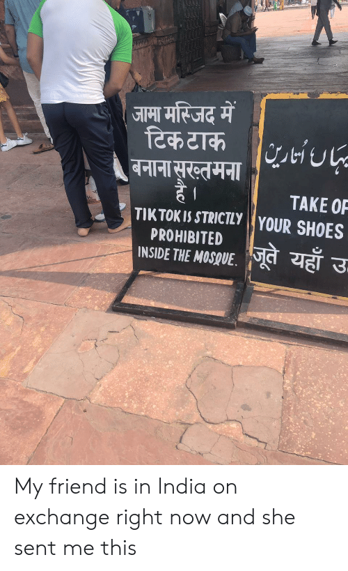 Shoes, India, and Friend: जामा मस्जिद में  टिक टाक  बनाना सूरख्तमना/1U-  है।  TIKTOK IS STRICTLY YOUR SHOES  TAKE OF  PROHIBITED  INSIDE THE MOSQUE  जूते यहाँ उ- My friend is in India on exchange right now and she sent me this