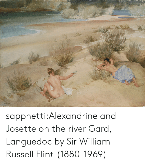 river: ১৯ sapphetti:Alexandrine and Josette on the river Gard, Languedoc by Sir William Russell Flint (1880-1969)