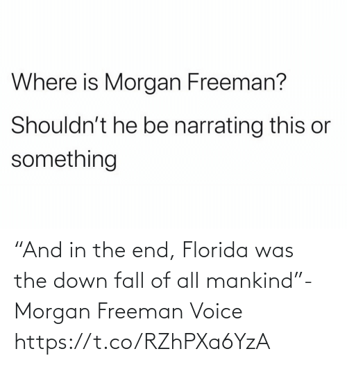 """in the end: """"And in the end, Florida was the down fall of all mankind""""- Morgan Freeman Voice https://t.co/RZhPXa6YzA"""