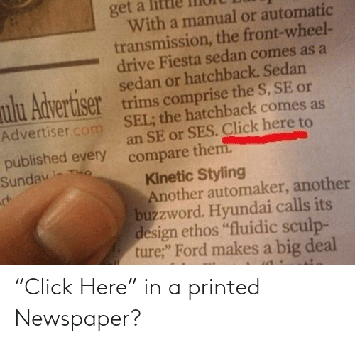 "In A: ""Click Here"" in a printed Newspaper?"