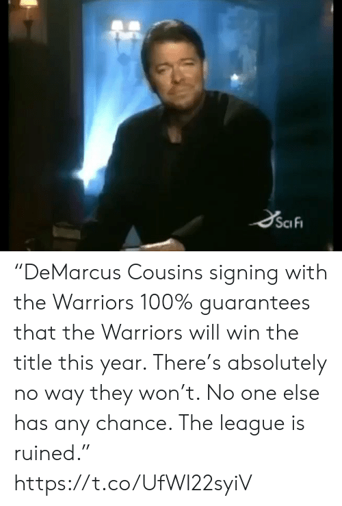 """Sports, The League, and Warriors: """"DeMarcus Cousins signing with the Warriors 100% guarantees that the Warriors will win the title this year. There's absolutely no way they won't. No one else has any chance. The league is ruined."""" https://t.co/UfWI22syiV"""