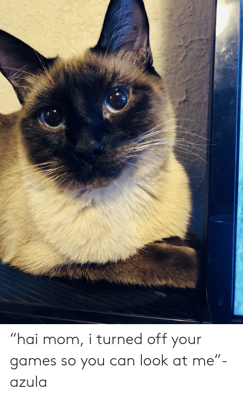 """Games, Mom, and Can: """"hai mom, i turned off your games so you can look at me""""- azula"""