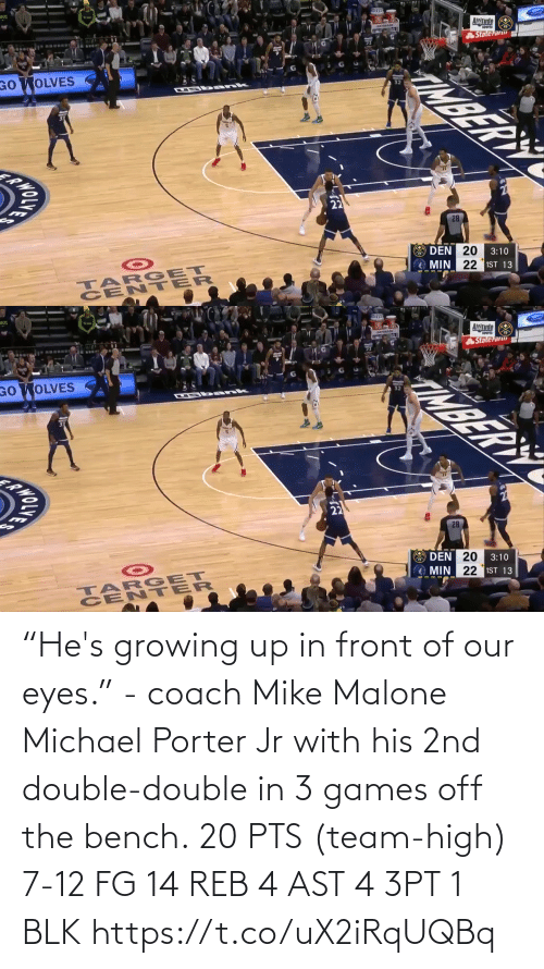 "growing: ""He's growing up in front of our eyes."" - coach Mike Malone  Michael Porter Jr with his 2nd double-double in 3 games off the bench.  20 PTS (team-high) 7-12 FG  14 REB 4 AST 4 3PT 1 BLK   https://t.co/uX2iRqUQBq"