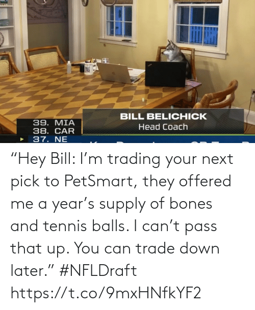 "bill: ""Hey Bill: I'm trading your next pick to PetSmart, they offered me a year's supply of bones and tennis balls. I can't pass that up. You can trade down later."" #NFLDraft https://t.co/9mxHNfkYF2"