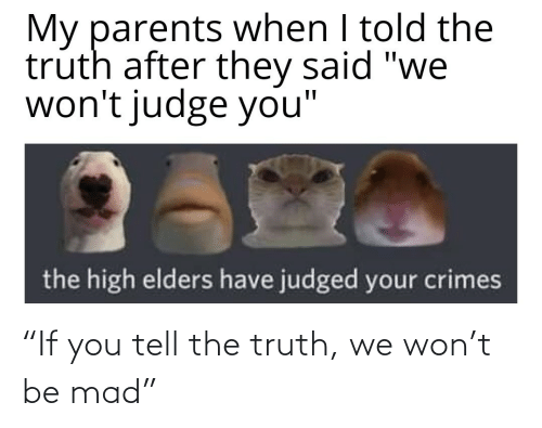 """won: """"If you tell the truth, we won't be mad"""""""