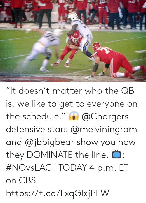 "Memes, Cbs, and Chargers: ""It doesn't matter who the QB is, we like to get to everyone on the schedule."" 😱  @Chargers defensive stars @melviningram and @jbbigbear show you how they DOMINATE the line.   📺: #NOvsLAC 