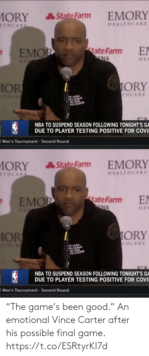 """possible: """"The game's been good.""""   An emotional Vince Carter after his possible final game. https://t.co/ESRtyrKI7d"""