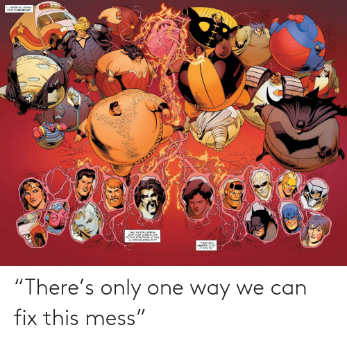 """mess: """"There's only one way we can fix this mess"""""""
