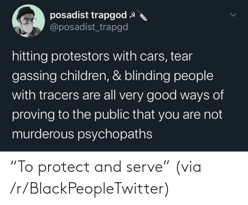 """Protect: """"To protect and serve"""" (via /r/BlackPeopleTwitter)"""