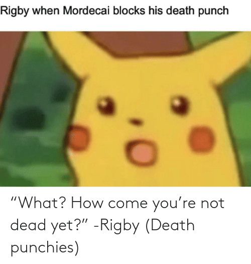 """rigby: """"What? How come you're not dead yet?"""" -Rigby (Death punchies)"""