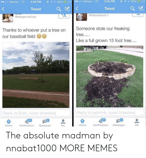 Madman: ④イ855% □D+  ooo Verizon LTE  5:46 PM  ⓖ  855%□コタ  ..ooo Verizon LTE  5:46 PM  Tweet  Tweet ar  @PatrickHunt11  @MargerumEvan  Thanks to whoever put a tree on Someone stole our freaking  our baseball field  Like a full grown 15 foot tree  Reply to patchrik, kuran bhardwaj  Reply to Evan, kuran bhardwa  1  1  Home  Notifications Messages  Me  Home  Notifications Messages The absolute madman by nnabat1000 MORE MEMES