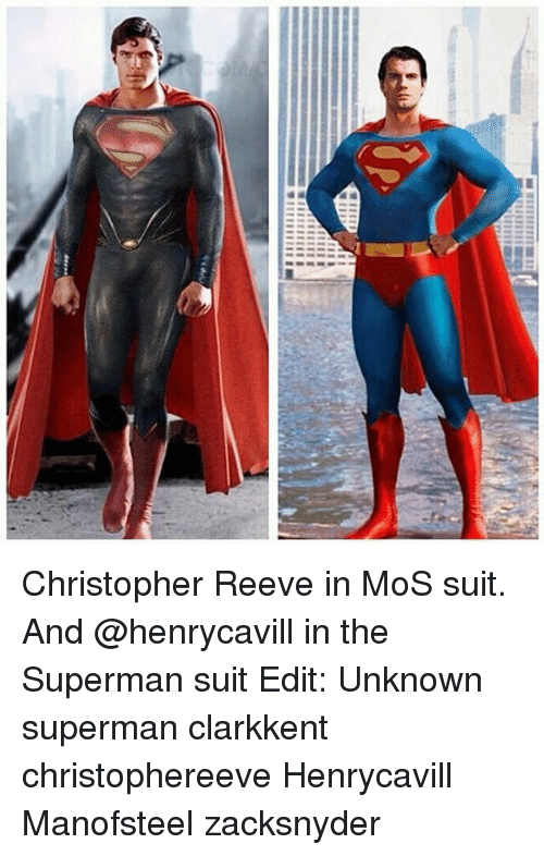 Reev: ■ 111111111M Christopher Reeve in MoS suit. And @henrycavill in the Superman suit Edit: Unknown superman clarkkent christophereeve Henrycavill Manofsteel zacksnyder