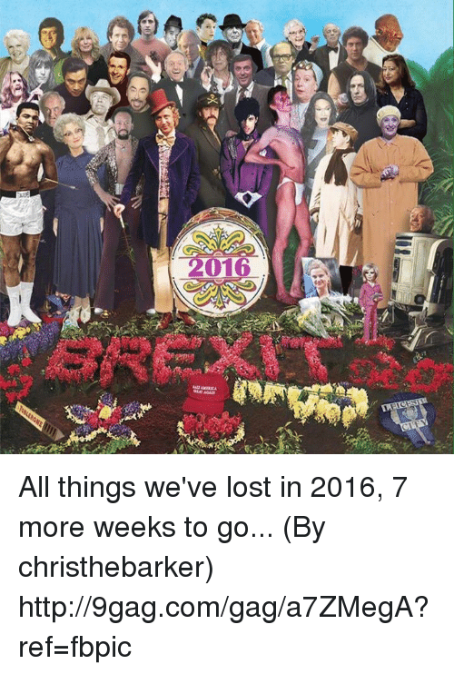 9gag, Dank, and Lost: 冰)orat  me ore  vxrxv tree  e  910  LO  B All things we've lost in 2016, 7 more weeks to go... (By christhebarker) http://9gag.com/gag/a7ZMegA?ref=fbpic
