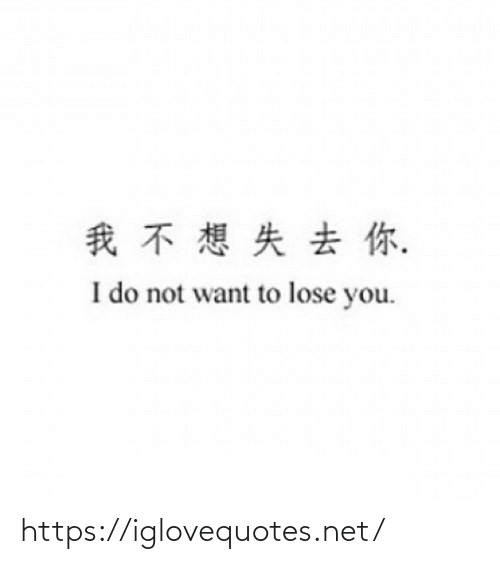 Do Not: 我不想失去你.  I do not want to lose you. https://iglovequotes.net/