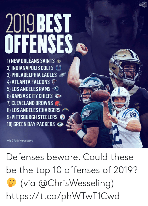 Atlanta Falcons: @竈  NF  2019 BEST  OFFENSES  1) NEW ORLEANS SAINTS  2) INDIANAPOLIS COLTS。  3) PHILADELPHIA EAGLES  4 ATLANTA FALCONS  5) LOS ANGELES RAMS  6) KANSAS CITY CHIEFS  7) CLEVELAND BROWNS  8) LOS ANGELES CHARGERS  9) PITTSBURGH STEELERS  10) GREEN BAY PACKERS G  via Chris Wesseling Defenses beware. Could these be the top 10 offenses of 2019? 🤔 (via @ChrisWesseling) https://t.co/phWTwT1Cwd