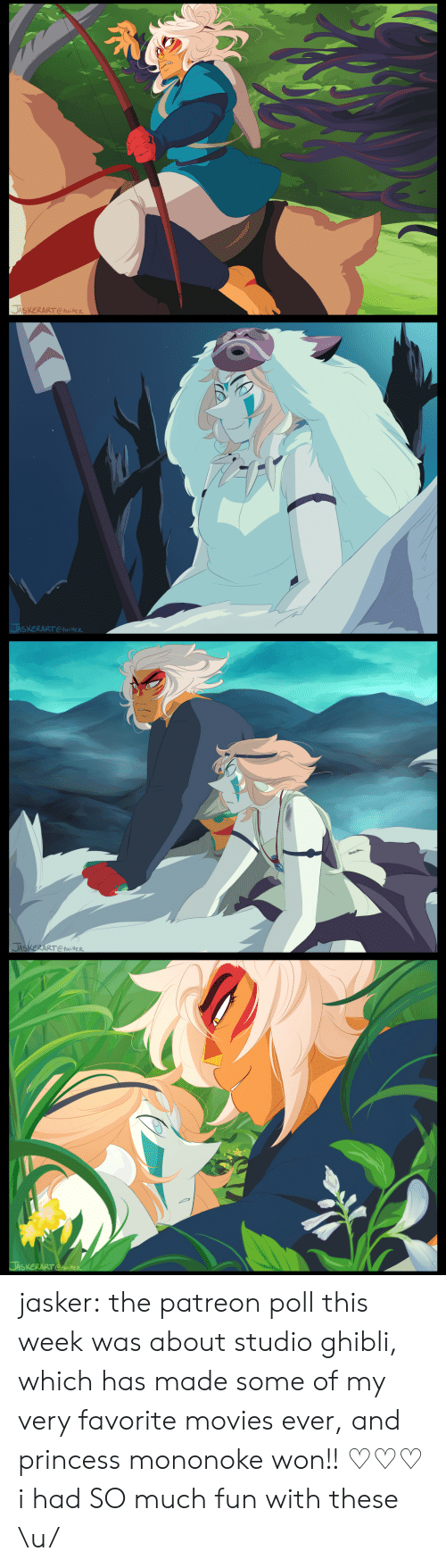 jas: 豸  JASKERART Ctwitter   SXERARTtwieR   JAS  ERART CtwiteR jasker:  the patreon poll this week was about studio ghibli, which has made some of my very favorite movies ever, and princess mononoke won!! ♡♡♡ i had SO much fun with these \u/
