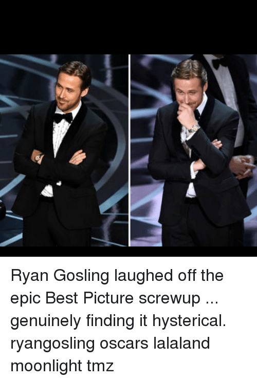 Lalaland: 뗄 Ryan Gosling laughed off the epic Best Picture screwup ... genuinely finding it hysterical. ryangosling oscars lalaland moonlight tmz