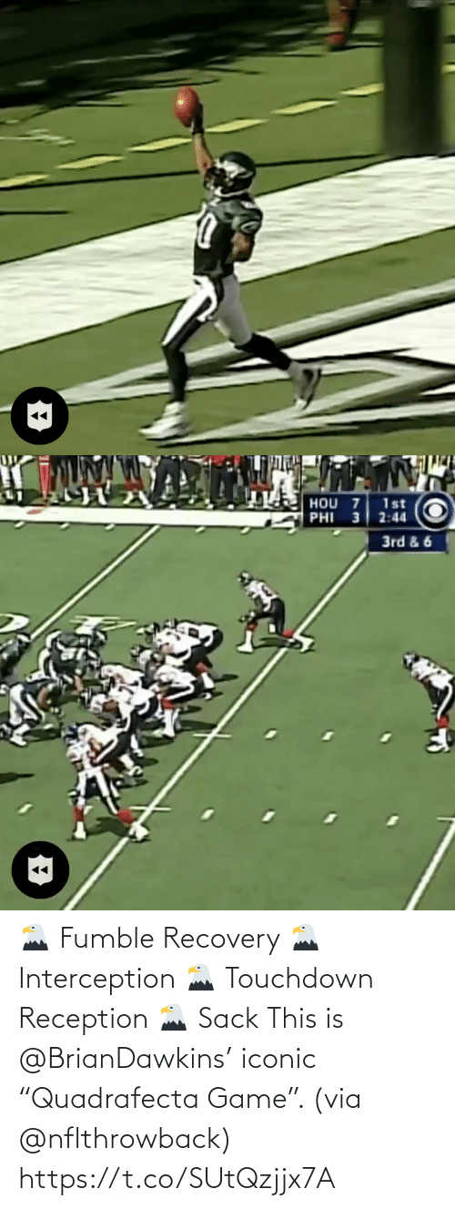 """Iconic: 🦅 Fumble Recovery 🦅 Interception 🦅 Touchdown Reception 🦅 Sack  This is @BrianDawkins' iconic """"Quadrafecta Game"""". (via @nflthrowback) https://t.co/SUtQzjjx7A"""