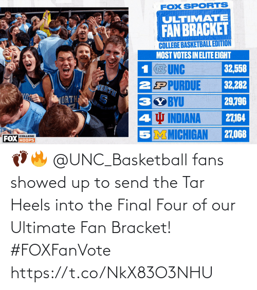 heels: 👣🔥 @UNC_Basketball fans showed up to send the Tar Heels into the Final Four of our Ultimate Fan Bracket! #FOXFanVote https://t.co/NkX83O3NHU