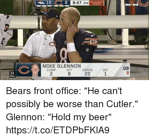 """Chicago Bears: 0  8:47 2nd  CHICAGO BEARS  BEARS  MIKE GLENNON  QB  COMP  2  ATT  8  YARDS  20  INT  1  (0  Q MarcusD2 Bears front office: """"He can't possibly be worse than Cutler.""""  Glennon: """"Hold my beer"""" https://t.co/ETDPbFKlA9"""