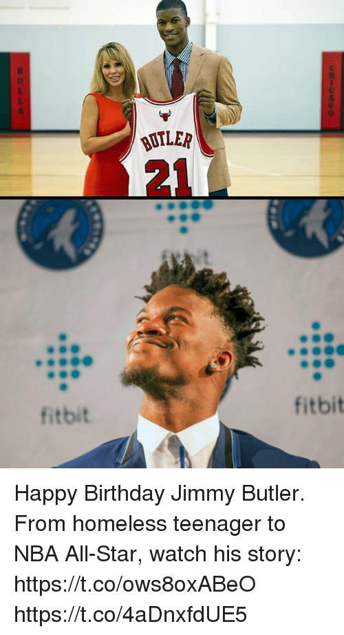 nba all stars: 0  BUTLER  21  fitbit  fitbit Happy Birthday Jimmy Butler.  From homeless teenager to NBA All-Star, watch his story: https://t.co/ows8oxABeO https://t.co/4aDnxfdUE5