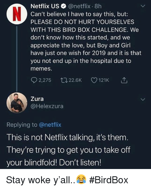 stay woke: 0%  Netflix US @netflix 8h  Can't believe I have to say this, but:  PLEASE DO NOT HURT YOURSELVES  WITH THIS BIRD BOX CHALLENGE. We  don't know how this started, and we  appreciate the love, but Boy and Girl  have just one wish for 2019 and it is that  you not end up in the hospital due to  memes.  (n  92,275 ロ22.6K 121K  Zura  @Helexzura  Replying to @netflix  This is not Netflix talking, it's them  They're trying to get you to take off  your blindfold! Don't listen! Stay woke y'all..😂 #BirdBox