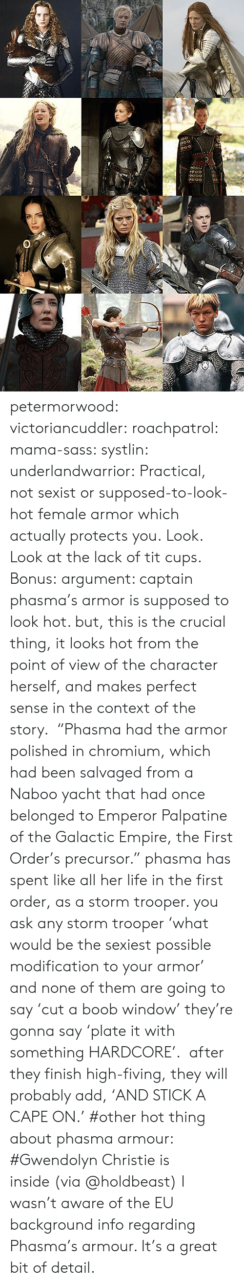 "makes-perfect-sense: 0-o  O0-o petermorwood:  victoriancuddler:  roachpatrol:  mama-sass:  systlin:  underlandwarrior:  Practical, not sexist or supposed-to-look-hot female armor which actually protects you.  Look.  Look at the lack of tit cups.   Bonus:  argument: captain phasma's armor is supposed to look hot. but, this is the crucial thing, it looks hot from the point of view of the character herself, and makes perfect sense in the context of the story.  ""Phasma had the armor polished in chromium, which had been salvaged from a Naboo yacht that had once belonged to Emperor Palpatine of the Galactic Empire, the First Order's precursor."" phasma has spent like all her life in the first order, as a storm trooper. you ask any storm trooper 'what would be the sexiest possible modification to your armor' and none of them are going to say 'cut a boob window' they're gonna say 'plate it with something HARDCORE'.  after they finish high-fiving, they will probably add, 'AND STICK A CAPE ON.'    #other hot thing about phasma armour: #Gwendolyn Christie is inside (via @holdbeast)  I wasn't aware of the EU background info regarding Phasma's armour. It's a great bit of detail."