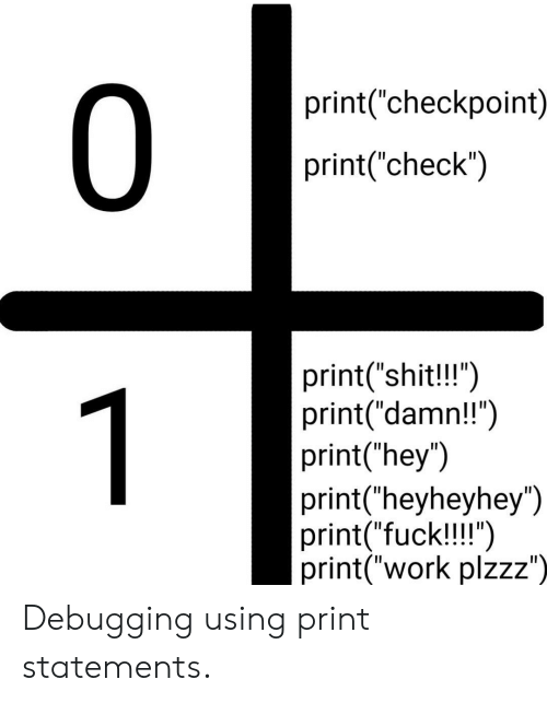 "Shit, Work, and Fuck: 0  print(""checkpoint)  print(""check"")  print(""shit!!"")  print(""damn!!"")  print(""hey"")  print(""heyheyhey"")  print(""fuck!!!"")  print(""work plzzz"")  1 Debugging using print statements."