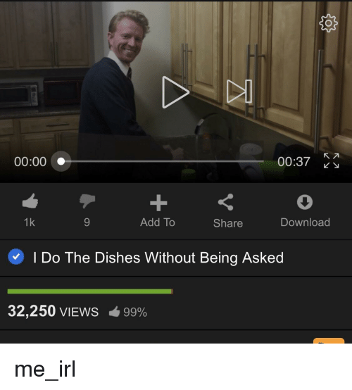 Irl, Me IRL, and Add: 00:00  00:37  1k  Add To  Share  Download  I Do The Dishes Without Being Asked  32,250 VIEWS  99% me_irl