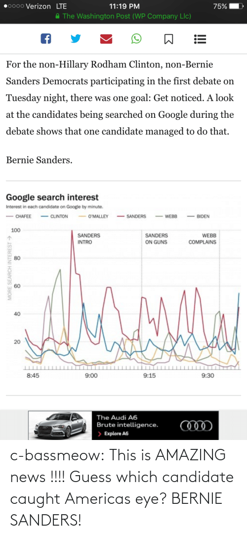 Bernie Sanders, Google, and Guns: 0000 Verizon LTE  11:19 PM  75%  A The Washington Post (WP Company Llc)  For the non-Hillary Rodham Clinton, non-Bernie  Sanders Democrats participating in the first debate on  Tuesday night, there was one goal: Get noticed. A look  at the candidates being searched on Google during the  debate shows that one candidate managed to do that.  Bernie Sanders.  Google search interest  Interest in each candidate on Google by minute.  - CLINTON  - SANDERS  O'MALLEY  CHAFEE  BIDEN  WEBB  100  SANDERS  SANDERS  WEBB  ON GUNS  INTRO  COMPLAINS  80  40  20  8:45  9:00  9:15  9:30  The Audi A6  Brute intelligence.  > Explore A6  MORE SEARCH INTEREST > c-bassmeow:  This is AMAZING news !!!! Guess which candidate caught Americas eye? BERNIE SANDERS!