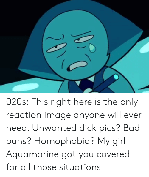 Bad, Dick Pics, and Puns: 020s:  This right here is the only reaction image anyone will ever need. Unwanted dick pics? Bad puns? Homophobia? My girl Aquamarine got you covered for all those situations