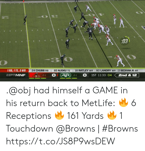 Memes, Browns, and Game: 03  3.  1 RB, 1 TE, 3 WR  24 CHUBB RB  18 RATLEY WR  85 NJOKU TE  80 LANDRY WR 13 BECKHAM JR. WR  ESFRMNF  1ST 11:33 04  2nd & 12  JETS  0-1  0-1 .@obj had himself a GAME in his return back to MetLife: 🔥 6 Receptions 🔥 161 Yards 🔥 1 Touchdown  @Browns | #Browns https://t.co/JS8P9wsDEW