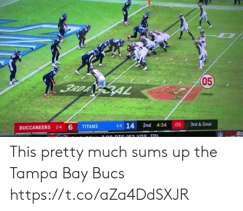 dts: 05  3RD& GAL  3rd &Goal  3-4 14  05  2nd  4:34  TITANS  BUCCANEERS 2-4 6  NFL  7 00 DTS (62 vns Tn This pretty much sums up the Tampa Bay Bucs https://t.co/aZa4DdSXJR