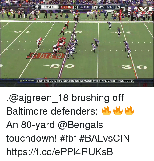 Memes, Nfl, and Baltimore: 06  VFL. COM E OF THE 2015 NFL SEASON ON DEMAND WITH NFL GAME PASS .@ajgreen_18 brushing off Baltimore defenders: 🔥🔥🔥  An 80-yard @Bengals touchdown! #fbf #BALvsCIN https://t.co/ePPl4RUKsB
