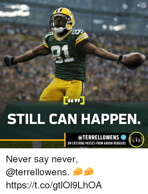 Aaron Rodgers, Memes, and Never: 099  STILL CAN HAPPEN.  @TERRELLOWENS C  ON CATCHING PASSES FROM AARON RODGERS  31 Never say never, @terrellowens. 🧀🧀 https://t.co/gtlOl9LhOA
