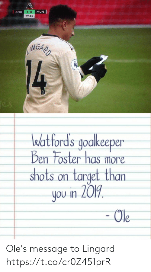 Foster: 1-0  MUN  BOU  79:43  AINGARD  14  es   watfords goakeeper  Ben Foster has more  shots on target than  you in 2019  - Ole Ole's message to Lingard https://t.co/cr0Z451prR