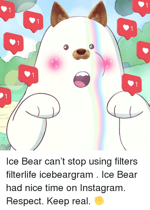 Instagram, Memes, and Respect: 1  1  1  1  1  1  1  1 Ice Bear can't stop using filters filterlife icebeargram . Ice Bear had nice time on Instagram. Respect. Keep real. ✊