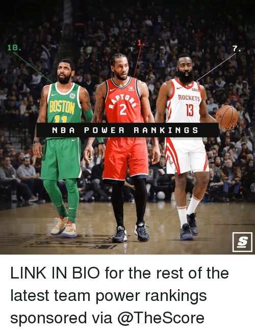 Basketball, Nba, and Sports: 1.  10.  7  86  ROCKETS  BOSTON  N B A P O WE R RAN KIN G S LINK IN BIO for the rest of the latest team power rankings sponsored via @TheScore